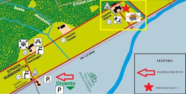 Dettaglio della mappa con nostra localizzazione
