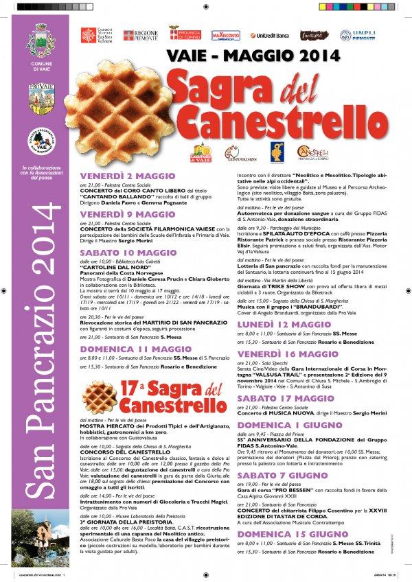 Locandina Sagra del Canestrello Vaie 2014