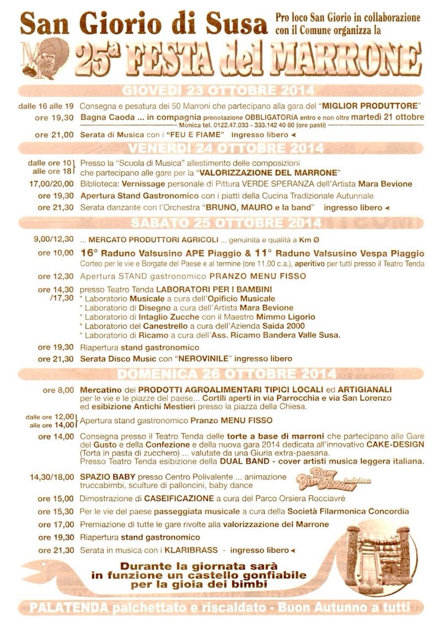 Programma delle giornate della Festa del Marrone