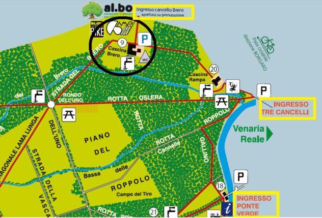 Mappa del parco La Mandria - ingrandimento