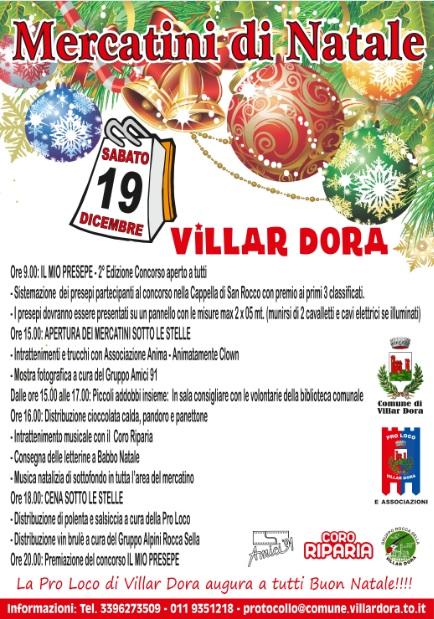 Locandina del mercatino di Natale - Villardora 2015