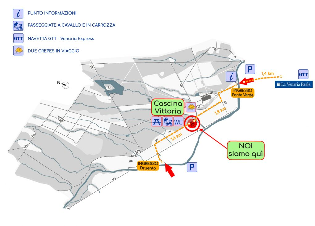 Mappa del parco, dove siamo - Cascina Vittoria